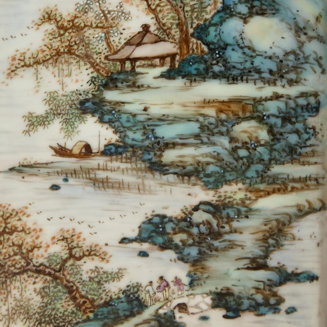 "A pair of famille rose porcelain ""landscape"" painting - 4"