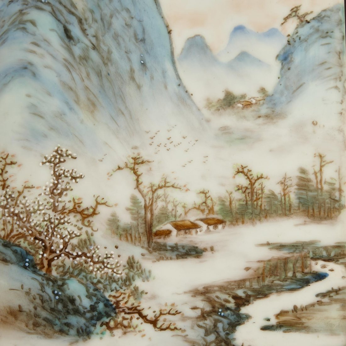 "A pair of famille rose porcelain ""landscape"" painting - 5"