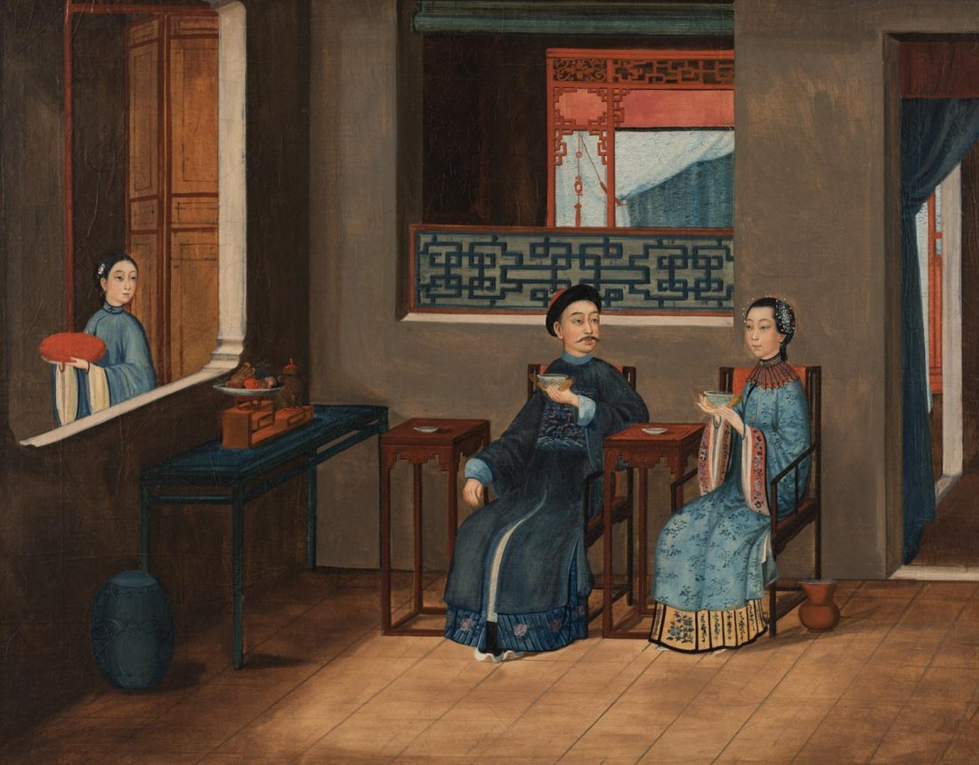 A Chinese export oil painting, Qing dynasty, circa 1820
