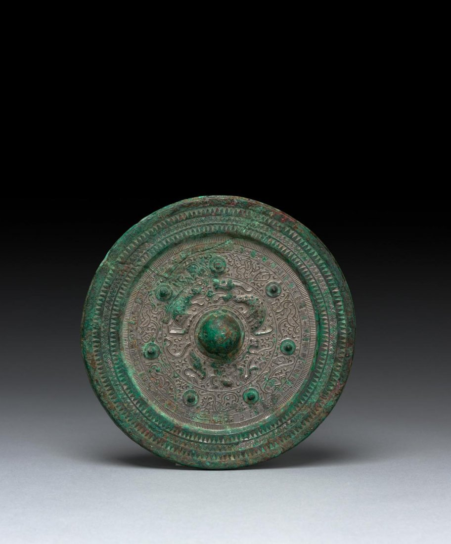 A Chinese bronze mirror, Han Dynasty (206BCE-220CE)