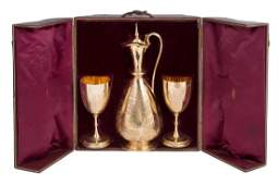 A fine quality Victorian cased gilt sterling silver