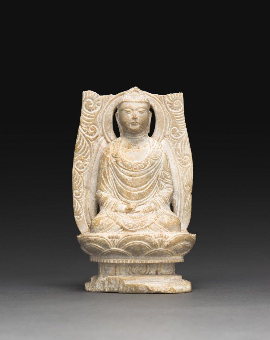 A RARE STEATITE FIGURE OF BUDDHA, FIVE DYNASTIES, 10TH
