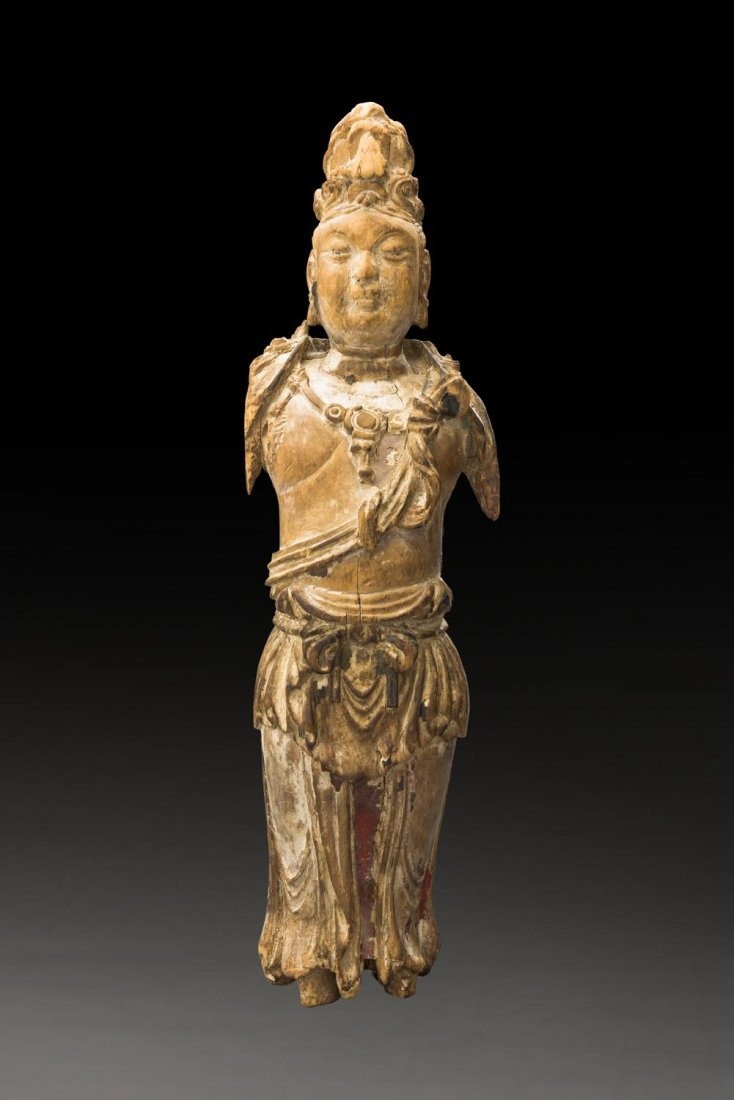 A RARE CHINESE WOODEN STANDING FIGURE OF GUANYIN, LATE