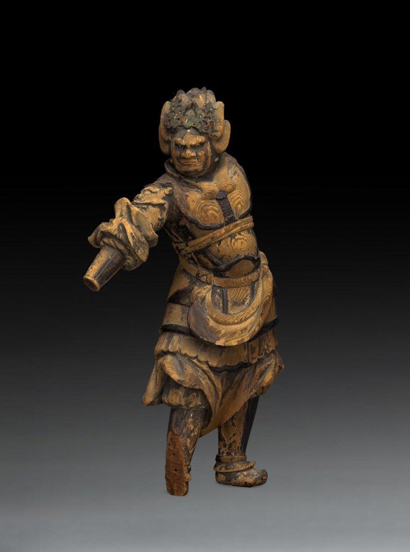 A JAPANESE POLYCHROME WOOD FIGURE OF BISHAMONTEN,