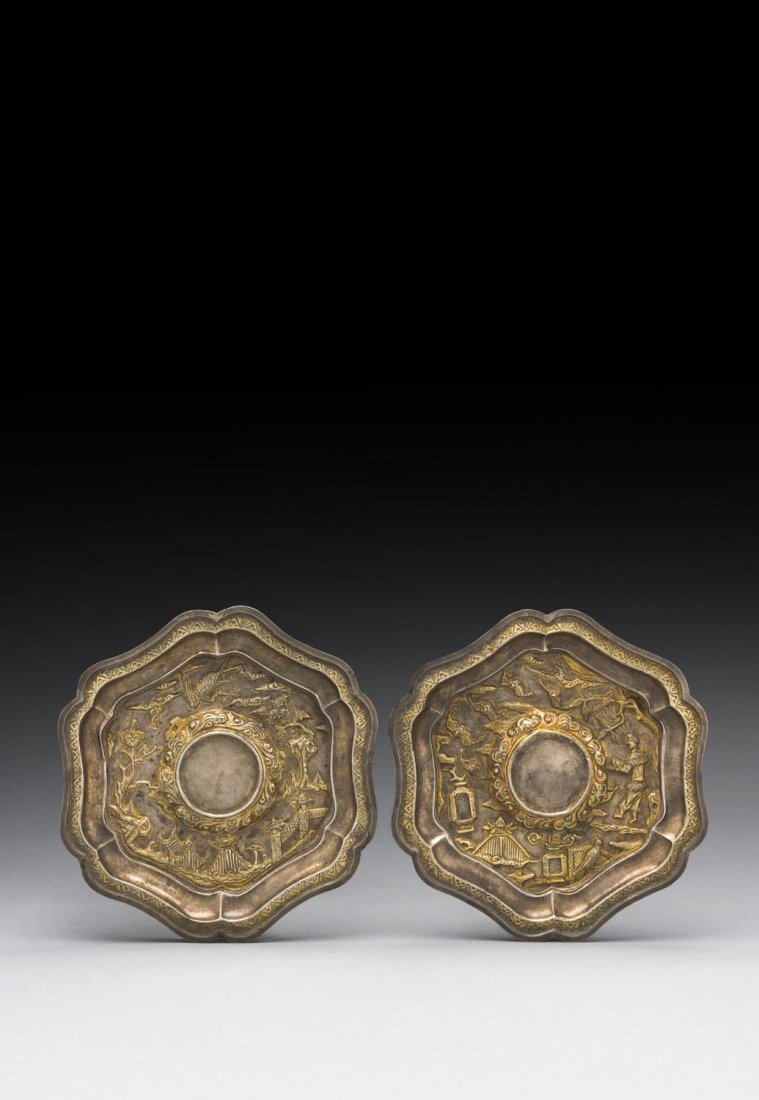 A PAIR OF CHINESE GILT-SILVER REPOUSSÉ CUP STANDS,