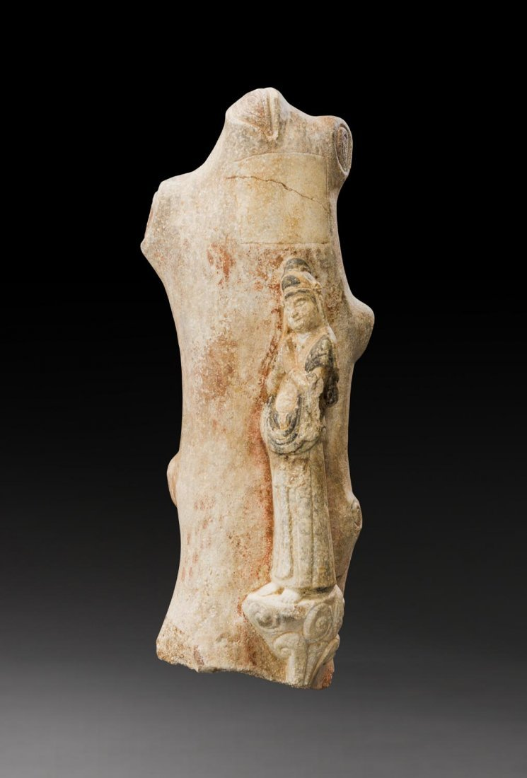 A CHINESE POLYCHROME WHITE MARBLE STELE, NORTHERN QI