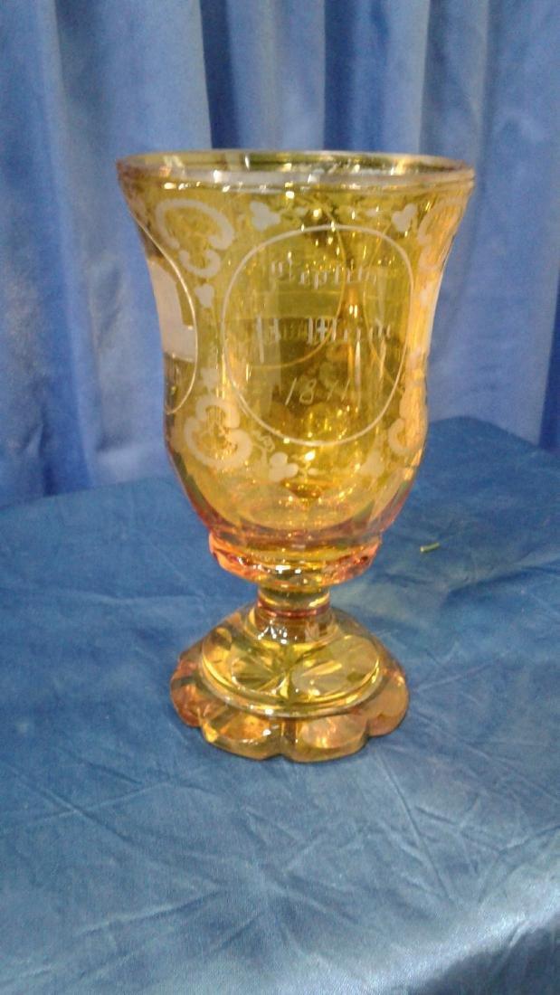 Bohemian yellow Glass Goblet