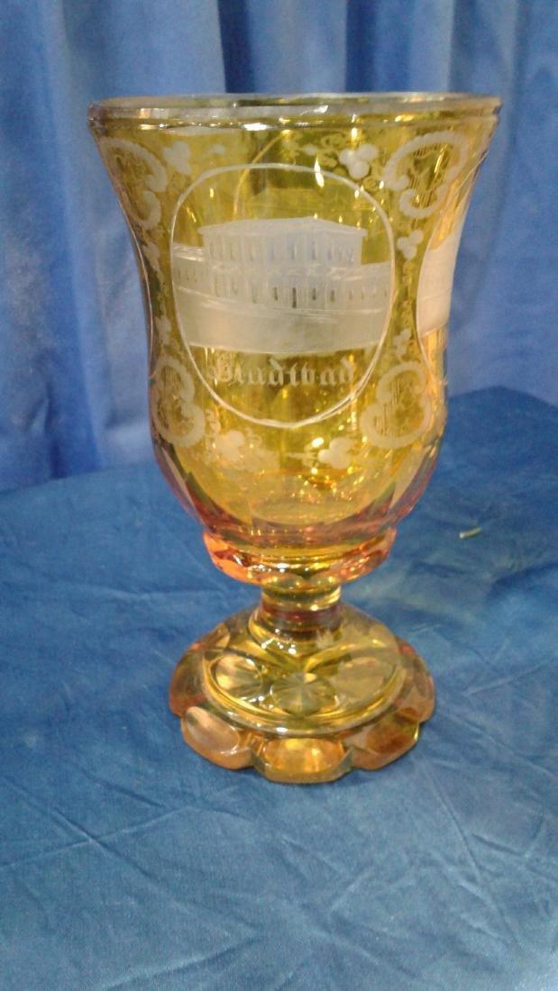 Bohemian yellow Glass Goblet - 3