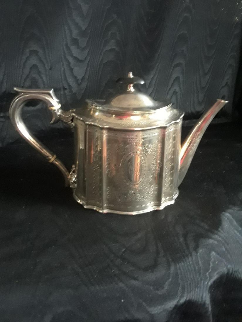 Victorian silver tea set - 4