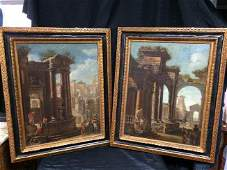 Pair of Italian architectures paintings