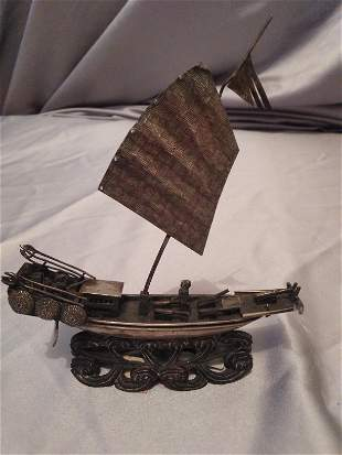 Chinese Solid Silver boat model