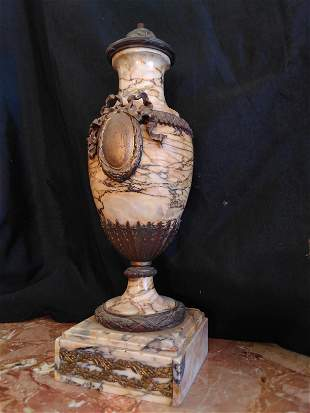 Marble and Bronze Urn Table Lamp
