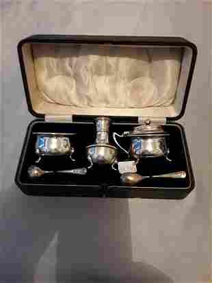 Silver English condiment set