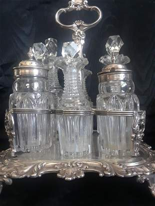 Georgian English silver cruet set