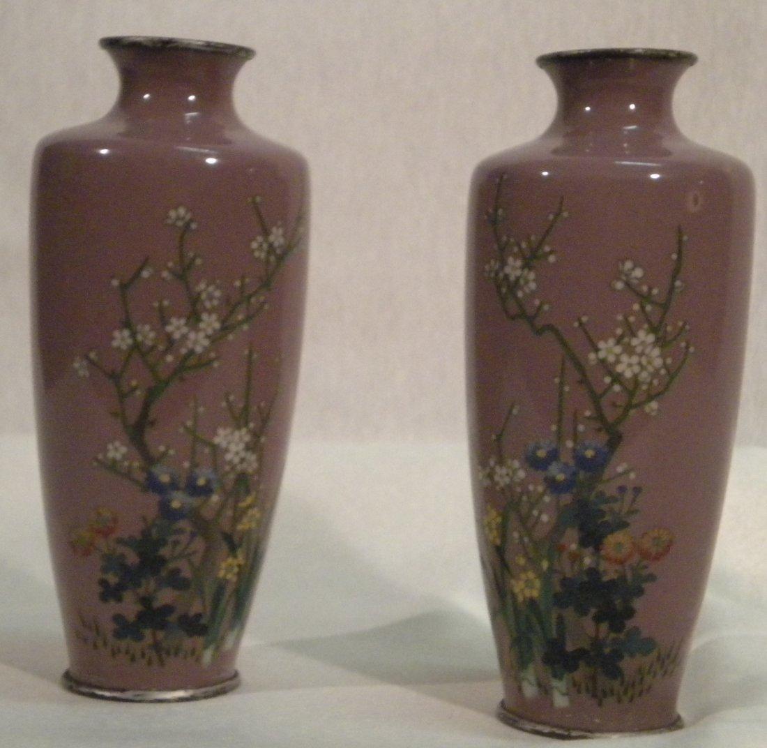 7: Pair of cloisonne vases