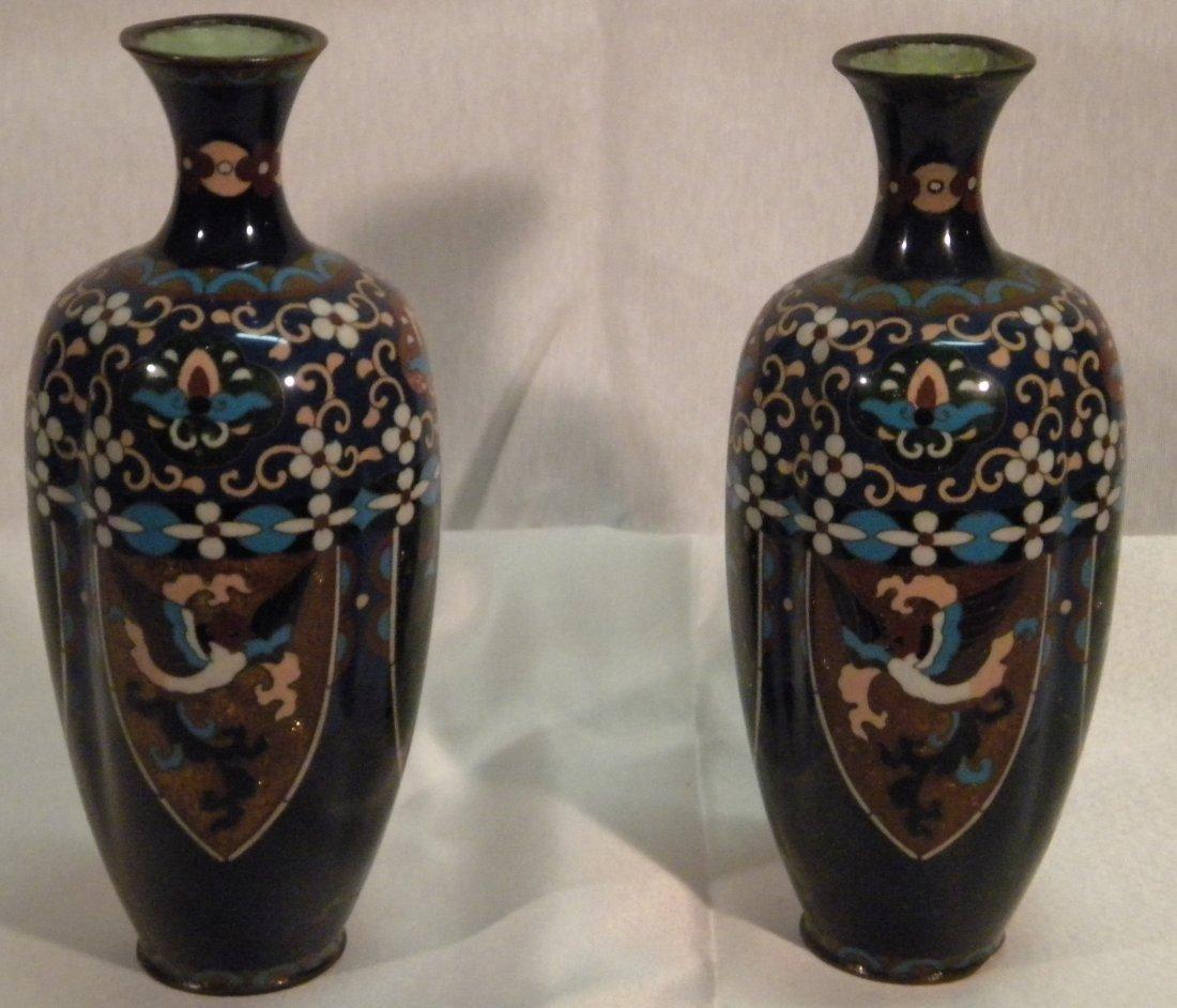 8: Pair of cloisonne vases