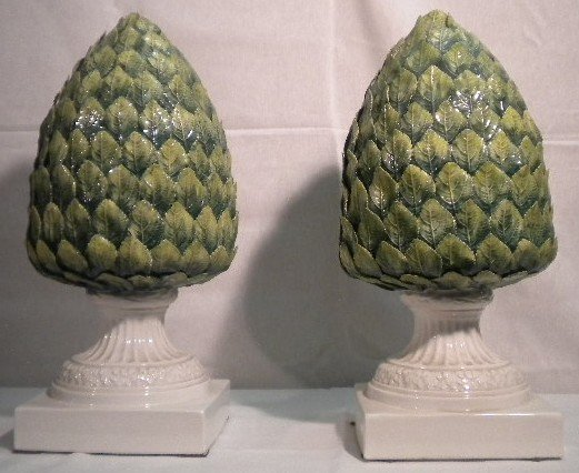 80: Pair of pottery pinecones
