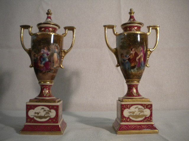 10: Pair of Old Vienna porcelain vases