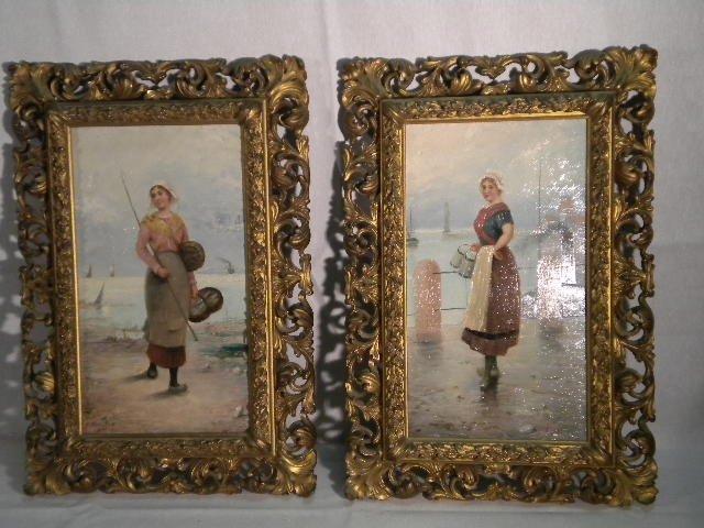 23: Pair of paintings on wood