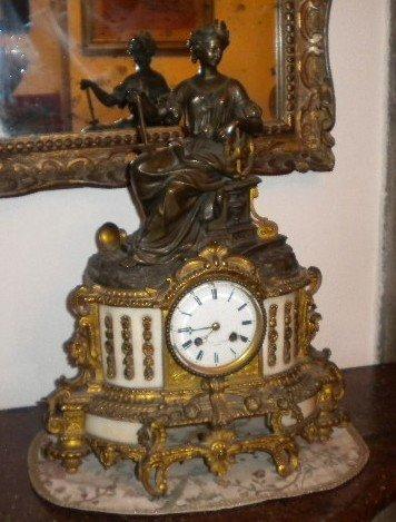 13: Mantel clock woman white marble