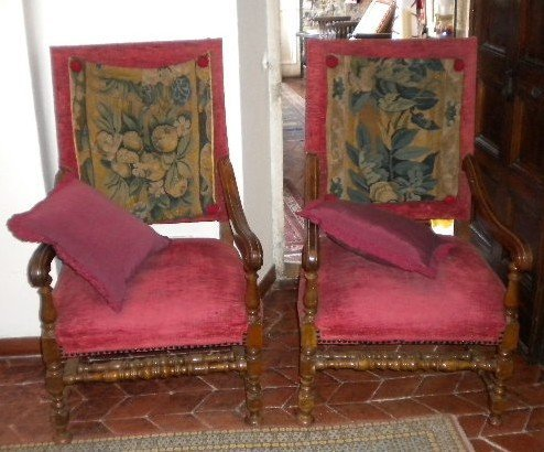 15: Pair of walnut armchairs