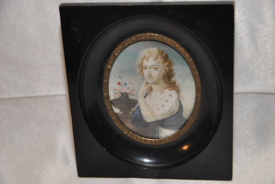 63: Ivory portrait miniature  of a lady