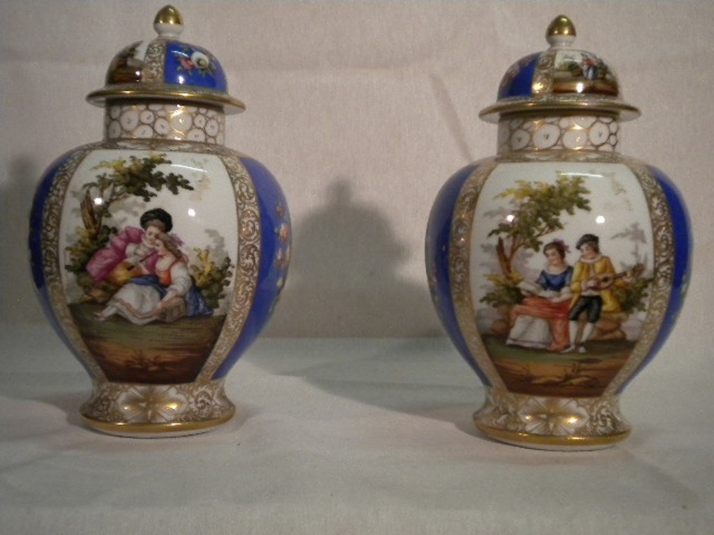 German porcelain pair of vases