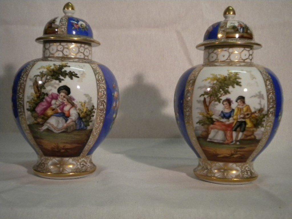 German porcelain pair of vases