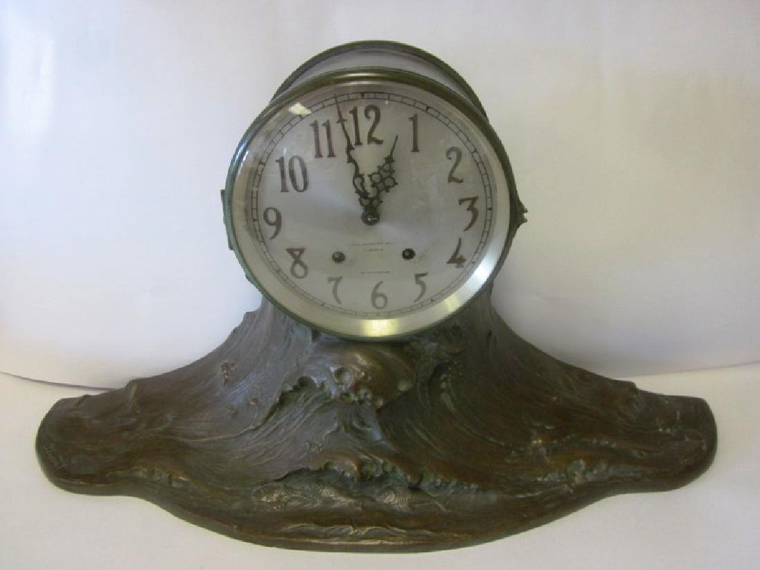 20th c  Bronze Wave Mantel Clock