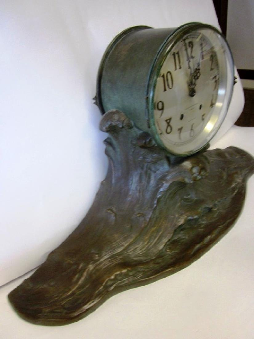 20th c  Bronze Wave Mantel Clock - 7