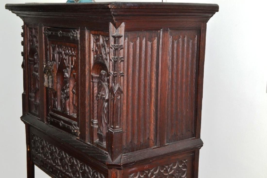 19th Century Oak Gothic Cupboard - 2