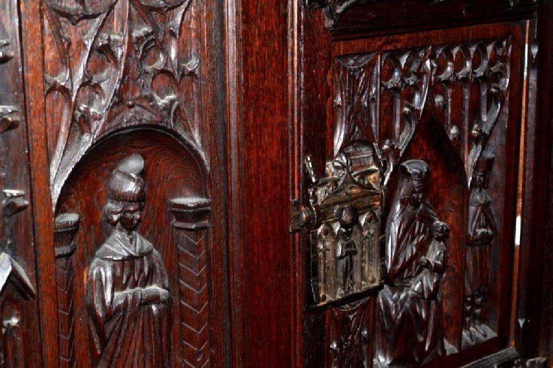 19th Century Oak Gothic Cupboard - 3
