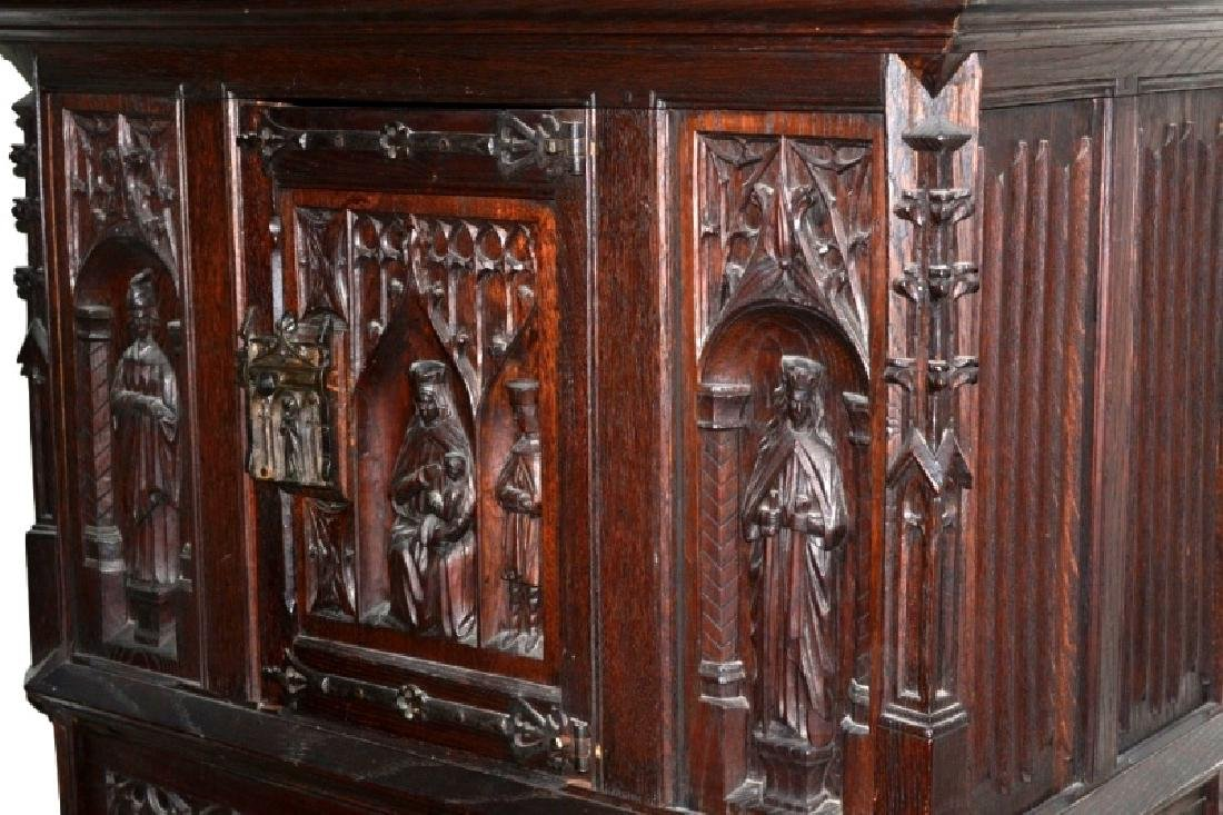 19th Century Oak Gothic Cupboard - 4
