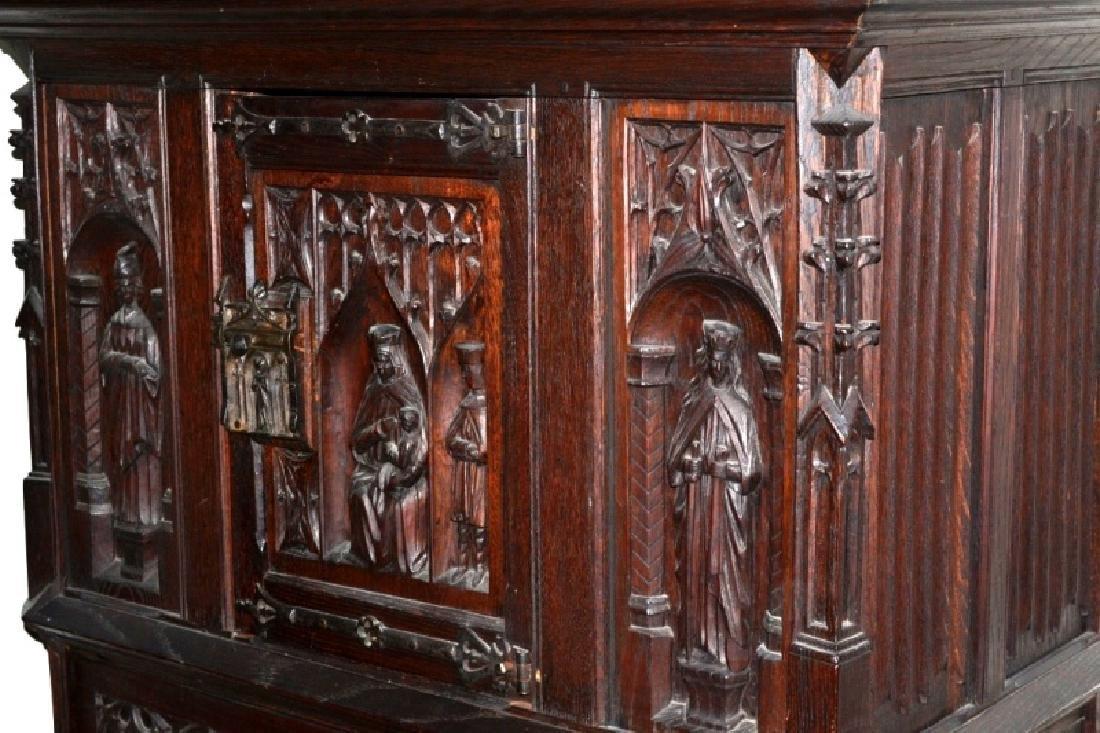 19th Century Oak Gothic Cupboard - 4