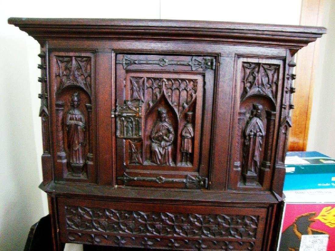 19th Century Oak Gothic Cupboard - 5