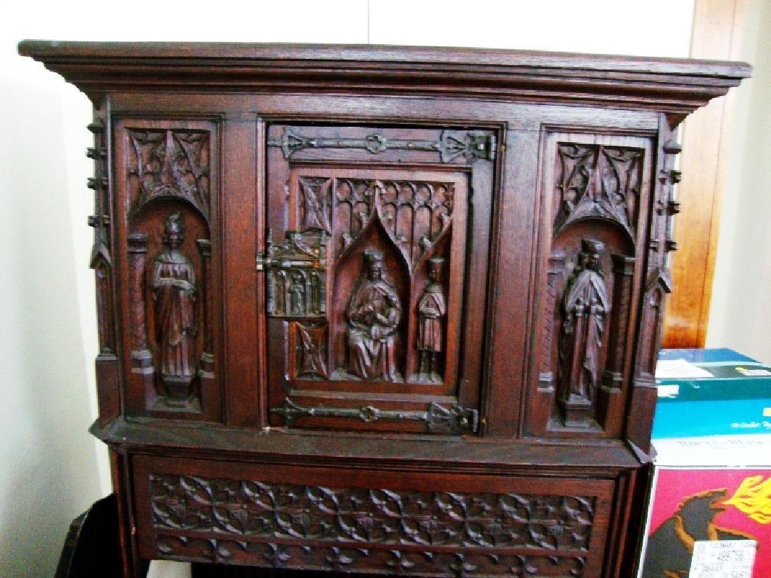 19th Century Oak Gothic Cupboard - 5