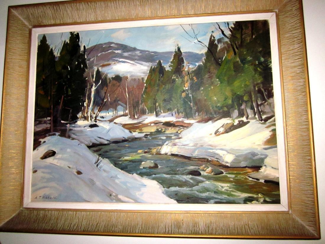 "20th c Painting O/C ""Turkey Brook"""