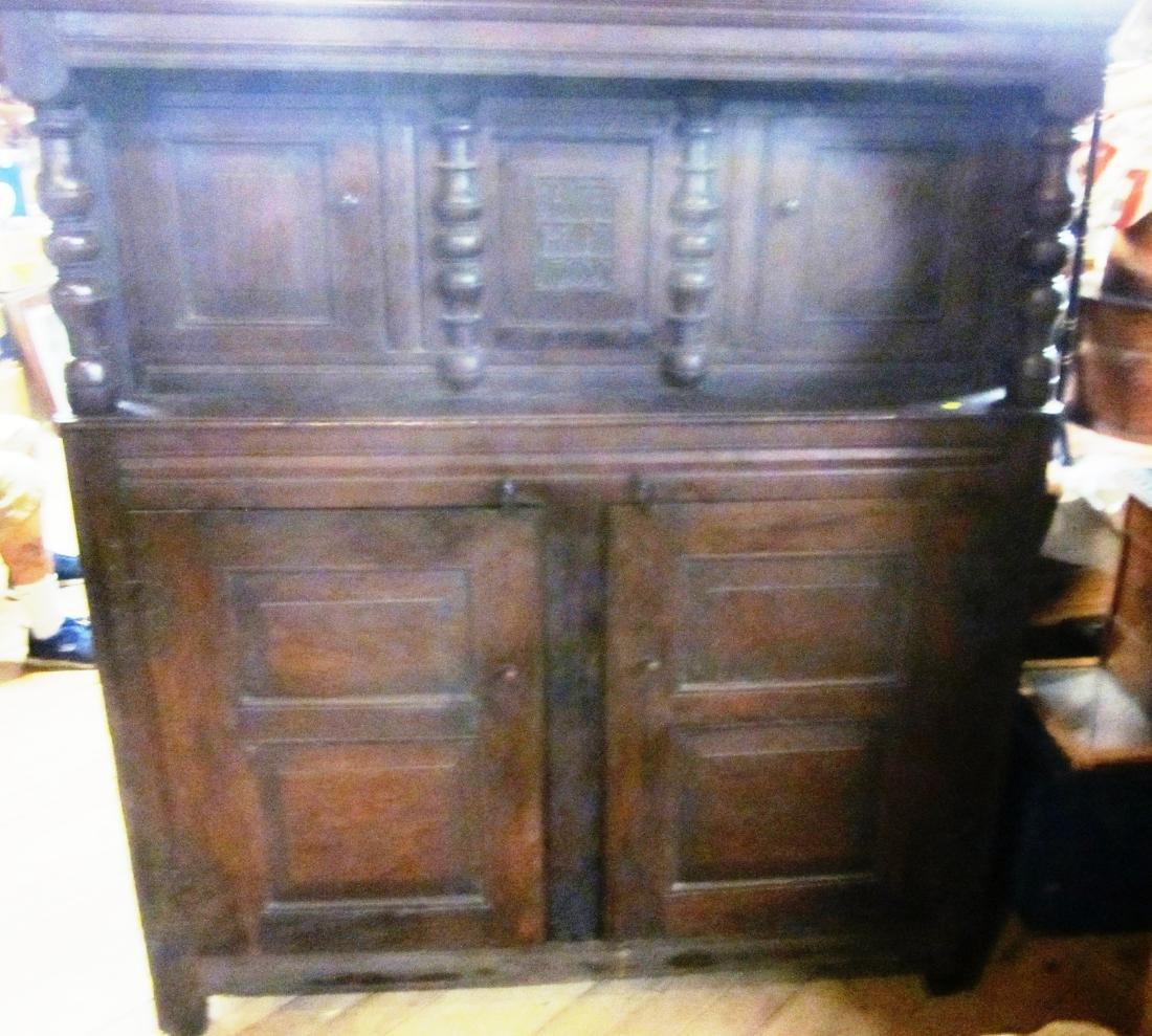 18th c  Oak Court Cupboard