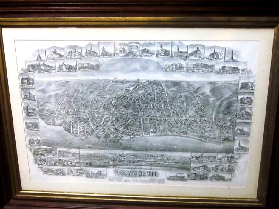 Late 19th c Map of Plymouth, MA w/walnut frame