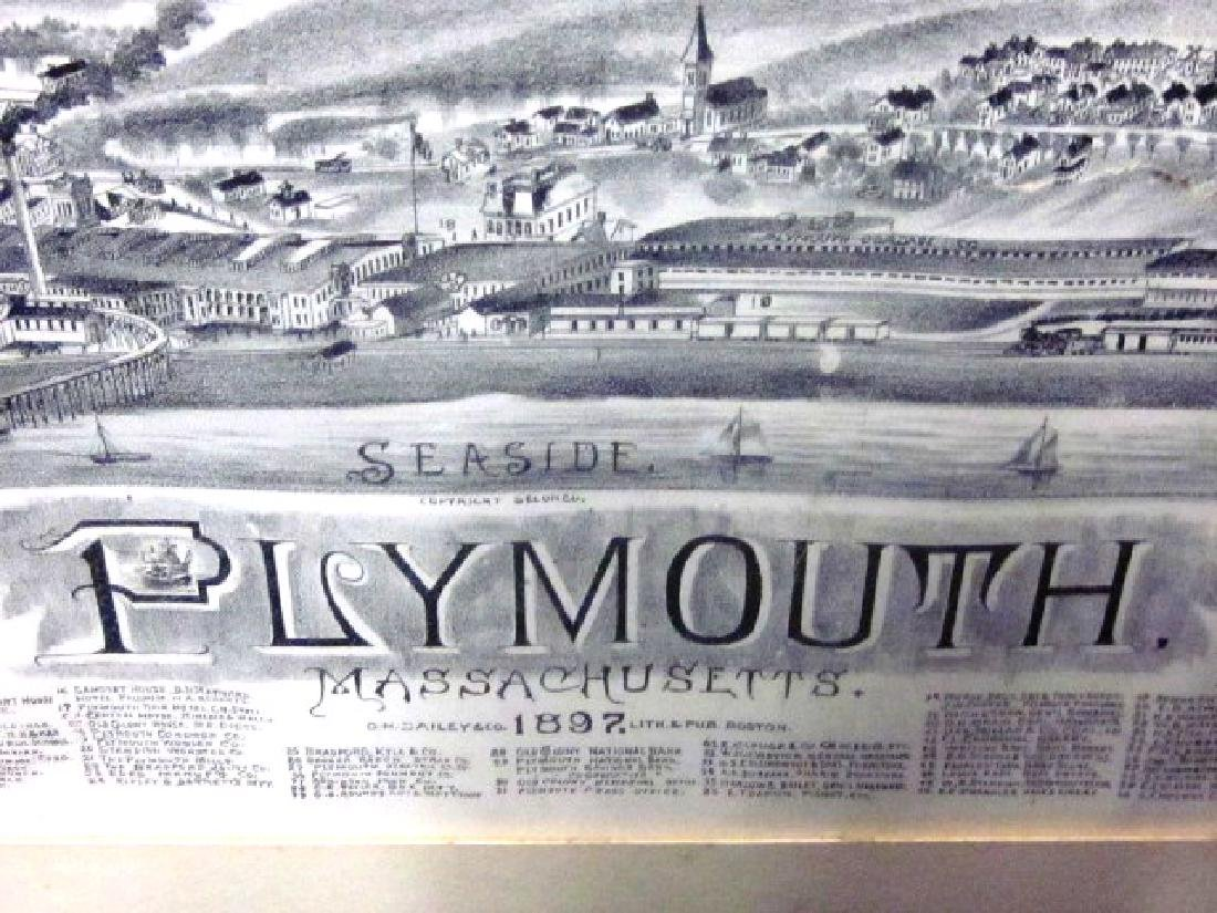 Late 19th c Map of Plymouth, MA w/walnut frame - 2