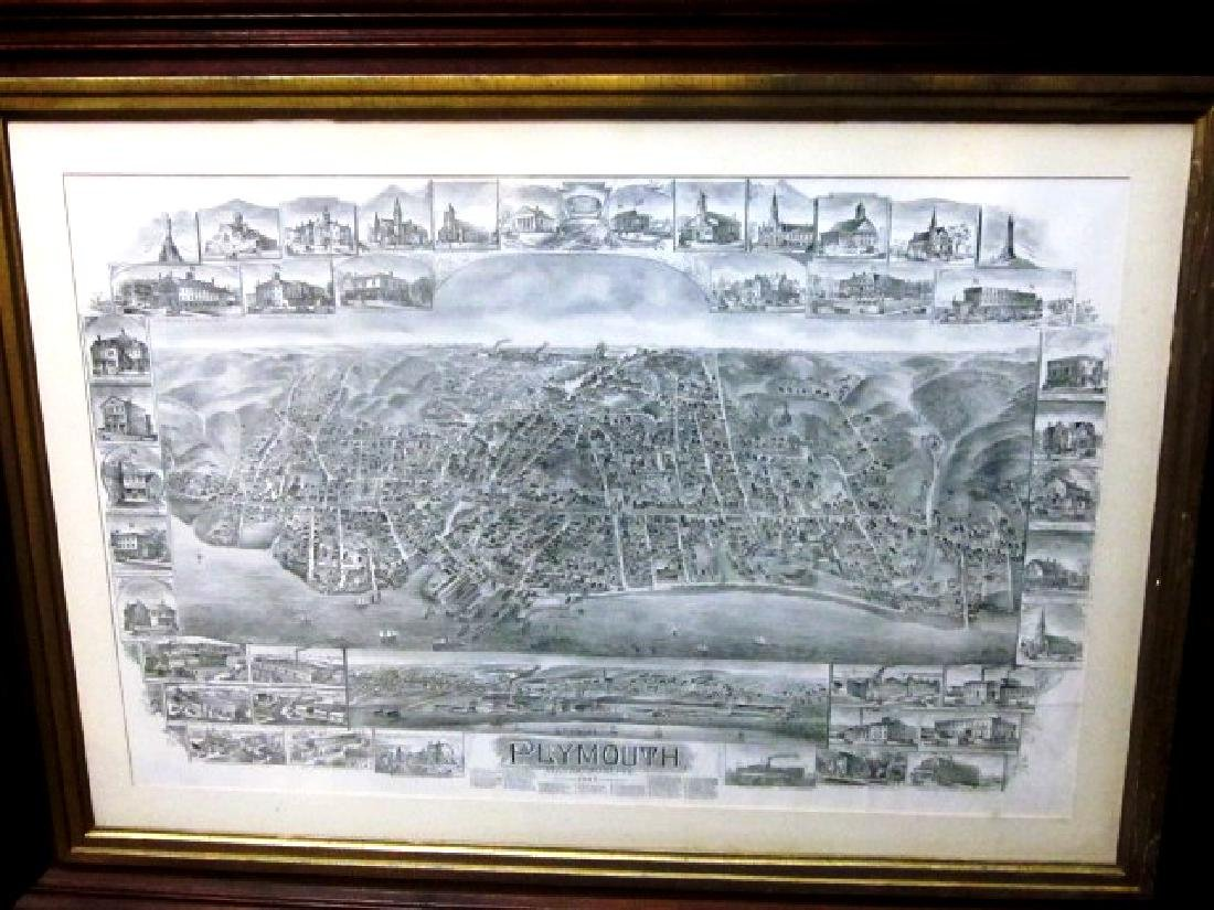 Late 19th c Map of Plymouth, MA w/walnut frame - 4