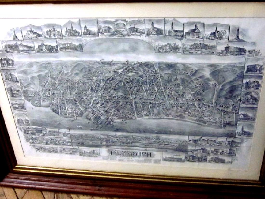 Late 19th c Map of Plymouth, MA w/walnut frame - 5
