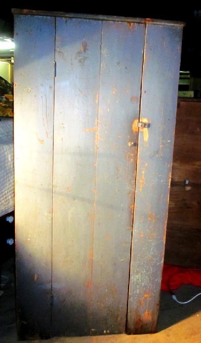 19th c Blue Paint, 1 Door Cupboard