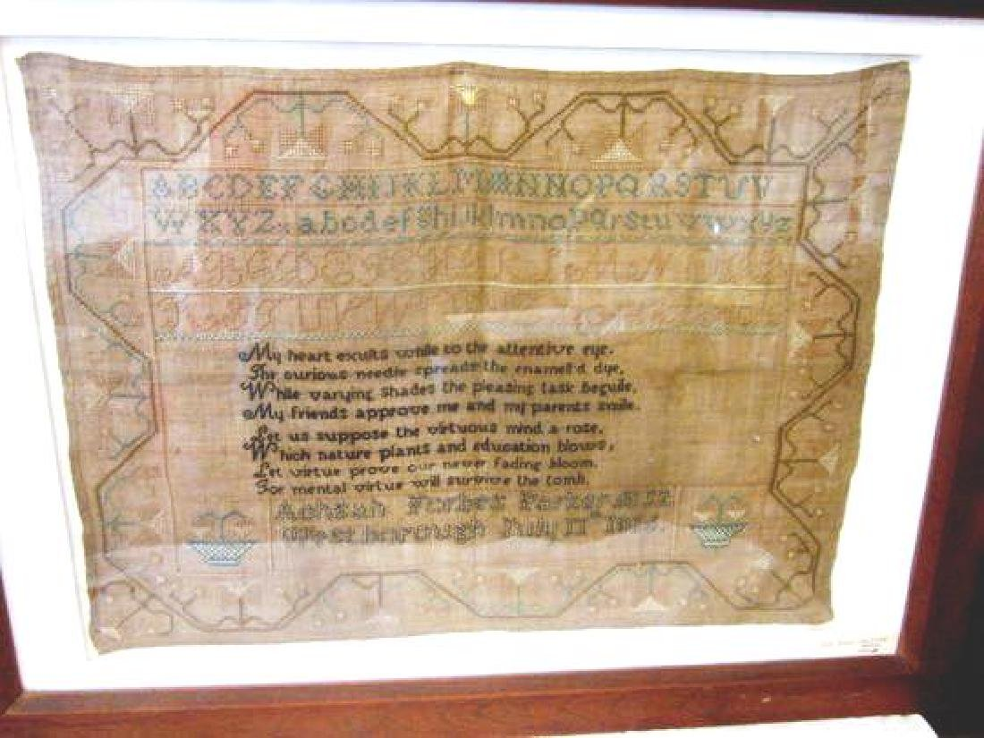 19th c Forbes Parker-Westborough Sampler 1816