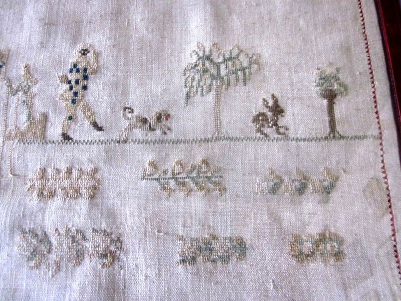 19th c Sampler with Dog