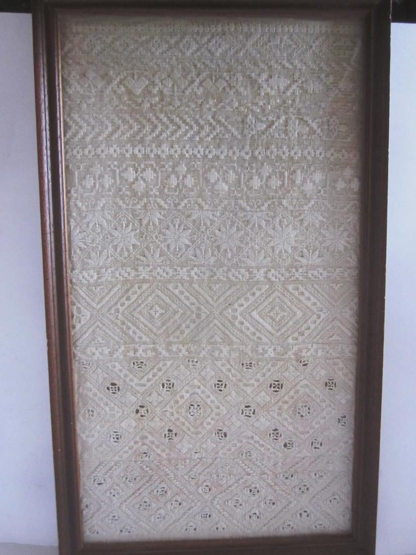 19th c Sampler, White Needlework
