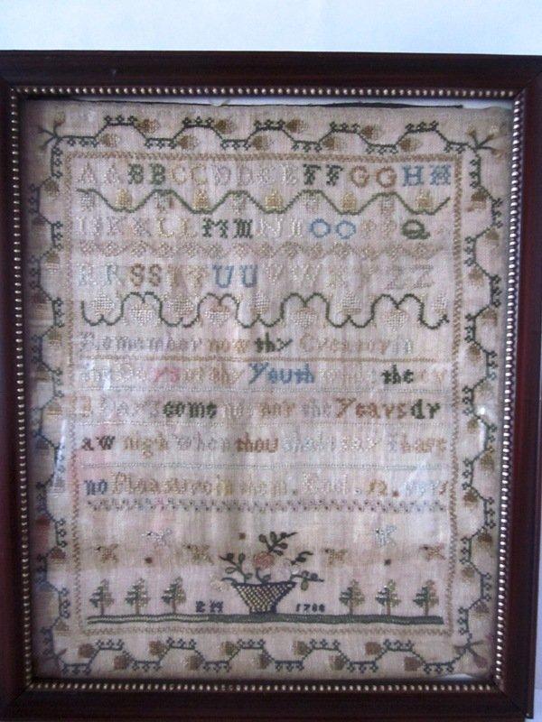 18th c Sampler, 1744