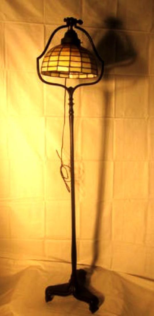20th c Handel Bronze Floor Lamp w/Handel shade