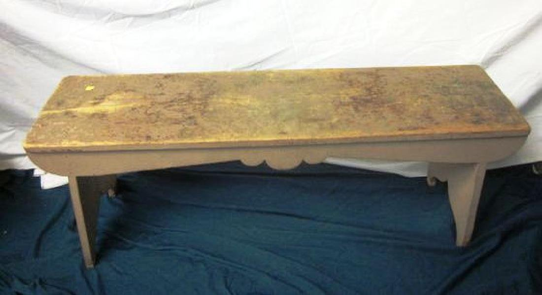 19th c Primitive Bench in Salmon Paint
