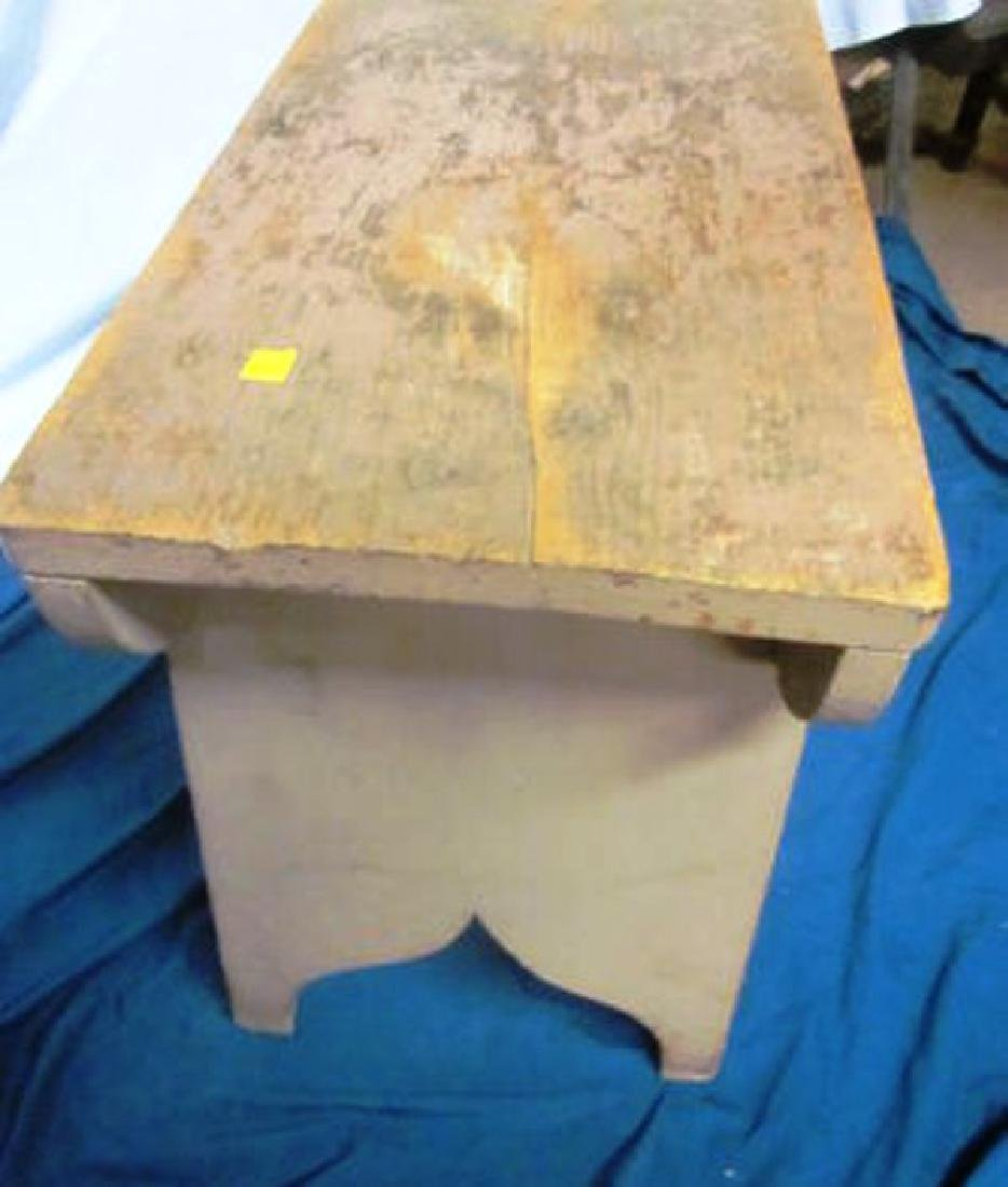 19th c Primitive Bench in Salmon Paint - 3